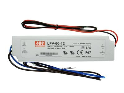 LED DRIVER MEANWELL IN PLASTICA AC/DC IP67 12V 1.5A 18W